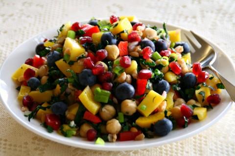 Vegan Mango Chickpea Kale Farro Salad on ShockinglyDelicious.com