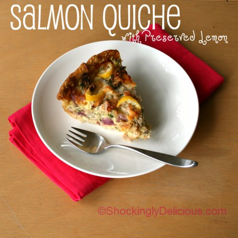 Salmon Quiche with Preserved Lemon on Shockingly Delicious. Recipe: http://www.shockinglydelicious.com/?p=11375