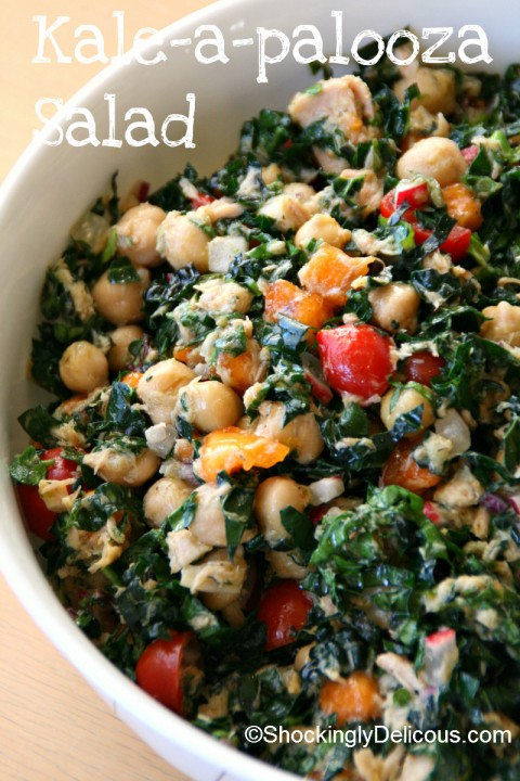 Kale-a-palooza Salad on Shockingly Delicious. Recipe here: https://www.shockinglydelicious.com/?p=11325