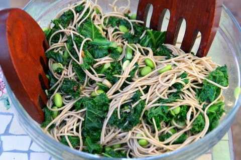 Peanut Soba Noodles with Kale and Edamame from Little Ferraro Kitchen