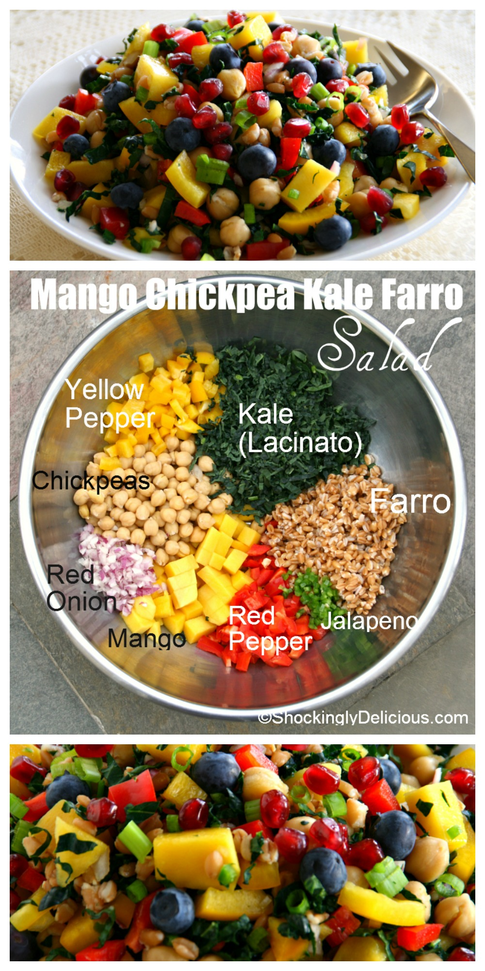 Mango Chickpea Kale Farro Salad recipe on ShockinglyDelicious.com