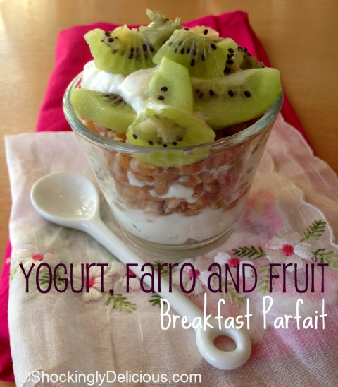 Yogurt, Farro and Fruit Breakfast Parfait on Shockingly Delicious. Recipe: http://www.shockinglydelicious.com/?p=11665