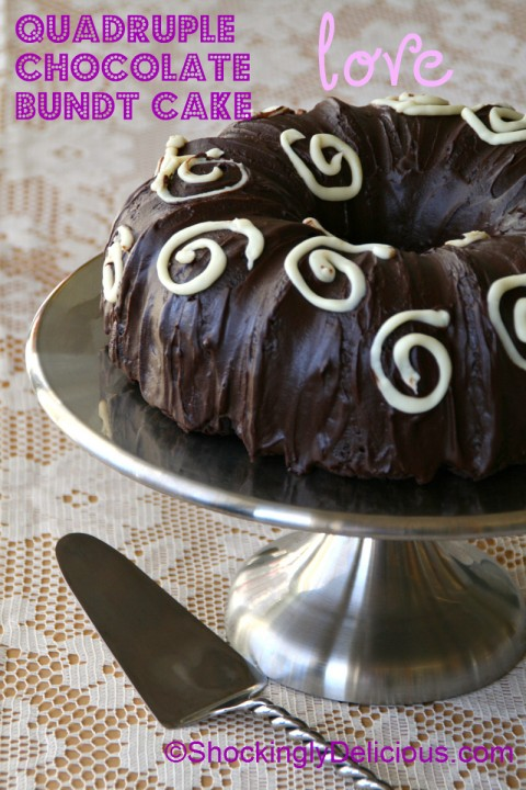 Quadruple Chocolate Bundt Cake for Valentine's Day on ShockinglyDelicious. Recipe: http://www.shockinglydelicious.com/?p=11451