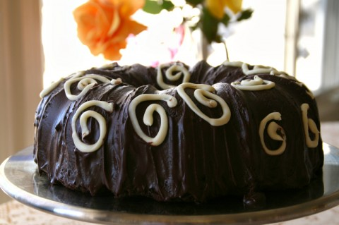 Quadruple Chocolate Bundt Cake for Valentine's Day on ShockinglyDelicious. Recipe: https://www.shockinglydelicious.com/?p=11451