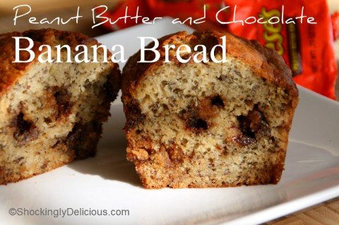 Peanut Butter and Chocolate Banana Bread on Shockingly Delicious. Recipe: http://www.shockinglydelicious.com/?p=11877