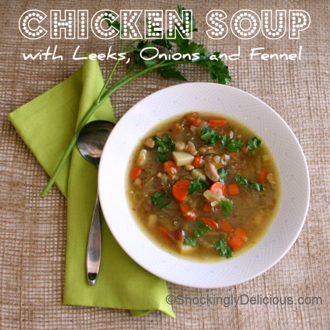 Chicken Soup with Leeks, Onions and Fennel for Souper #SundaySupper