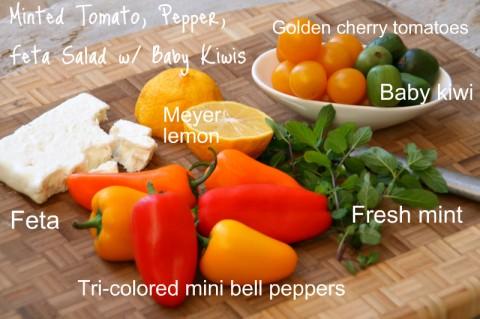Minted Tomato, Pepper, Feta Salad with Baby Kiwi on Shockingly Delicious