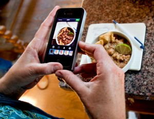 Dorothy Reinhold shooting a bowl of Mexican Posole, shot by Cathy Arkle