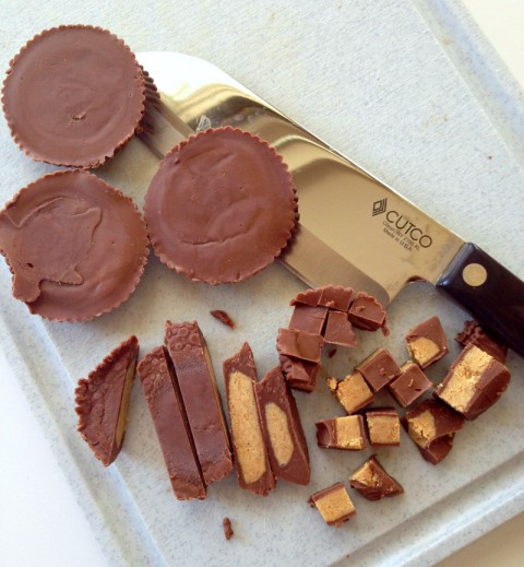 Reese's Peanut Butter Cups chopped on Shockingly Delicious