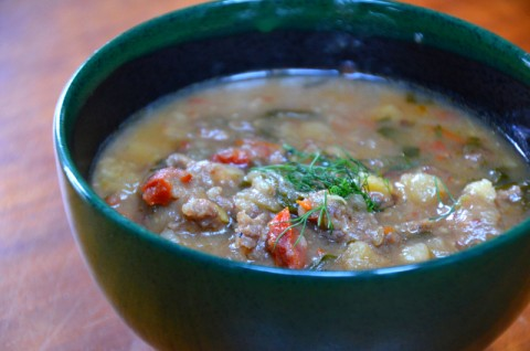 Sausage and Fennel Potato Chowder with Kale from Cheesy Pennies