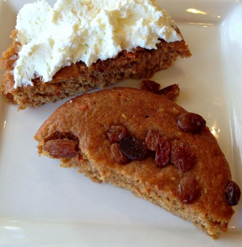 Vitatops Carrot Cake flavor muffin tops with cream cheese on top