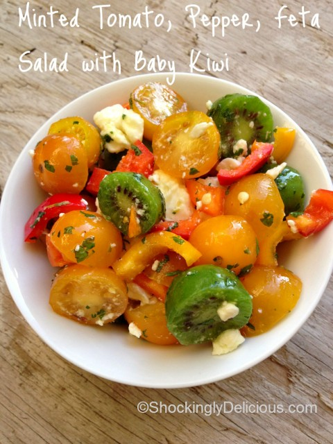 Minted Tomato, Pepper, Feta Salad with Baby Kiwi (Secret Recipe Club)