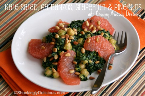 Kale Salad with Garbanzos, Grapefruit and Pine Nuts in Avocado Dressing on Shockingly Delicious