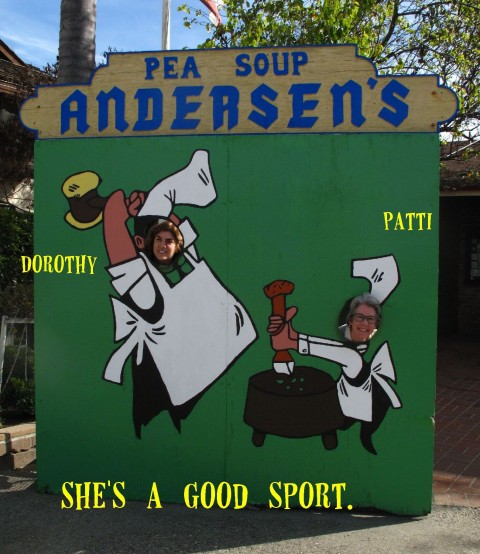 Dorothy and Patti at Pea Soup Andersen's on Shockingly Delicious