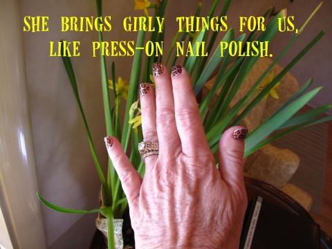 Nail polish on Patti's hand on Shockingly Delicious