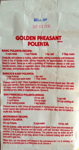 Easy Oven Polenta on back of Golden Pheasant bag