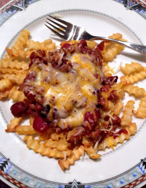 Chili Cheese Fries with CravOn on Shockingly Delicious