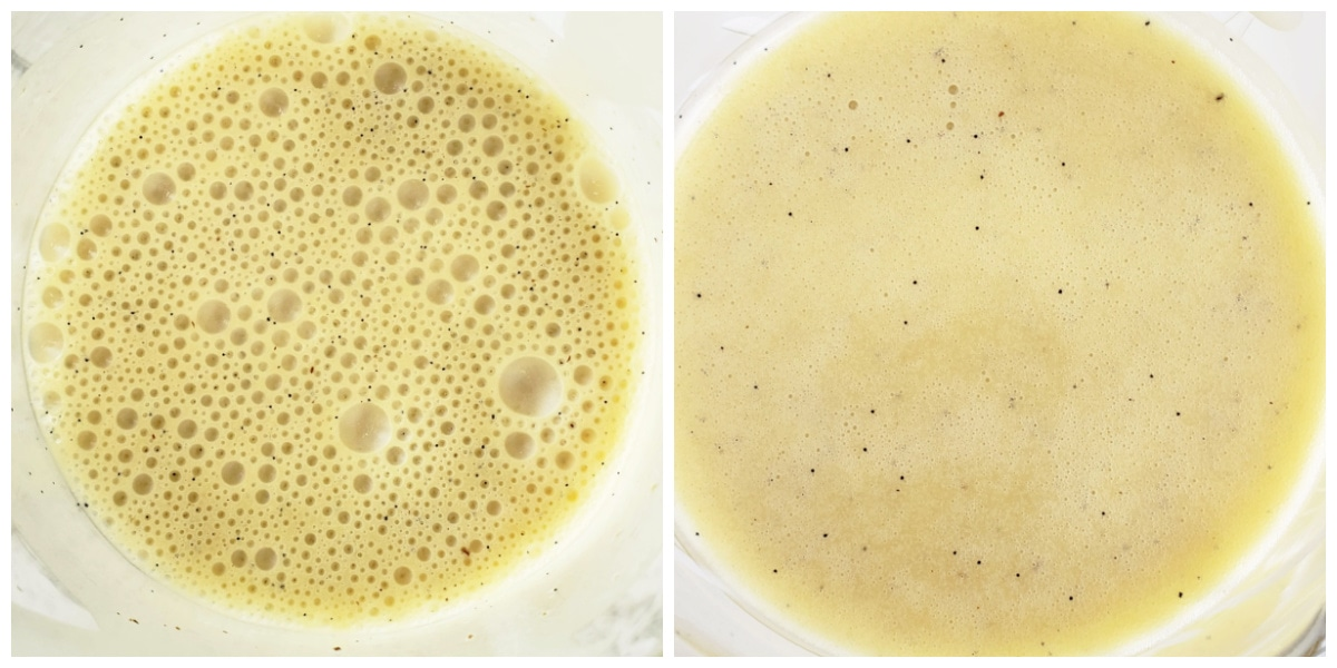 shot on left shows dressing with bubbles, shot on right shows dressing with no bubbles