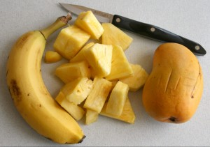 Banana, pineapple and mango on Shockingly Delicious