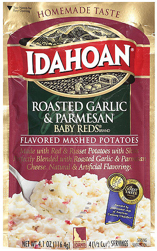 Idahoan Roasted Garlic & Parmesan Baby Reds flavored mashed potaotes on Shockingly Delicious