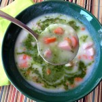 10-Minute Potato Ham Soup with Pesto Swirl on Shockingly Delicious