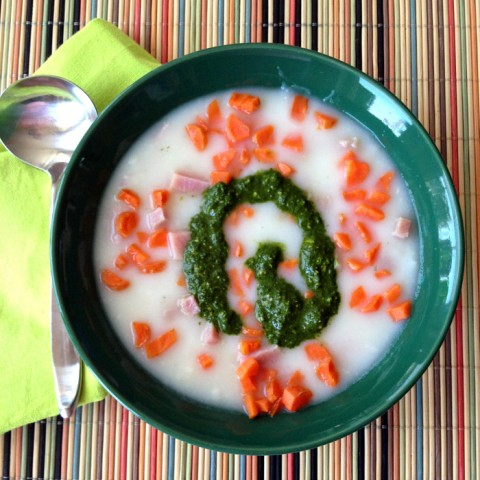 10-Minute Potato Ham Soup with Pesto Swirl on Shockingly Delicious