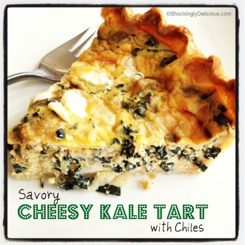 Savory Cheesy Kale Tart with Chiles on Shockingly Delcious