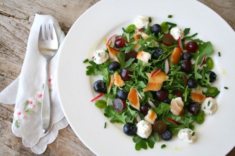 Smoked Trout Arugula Salad with Grapes and Blueberries on Shockingly Delicious