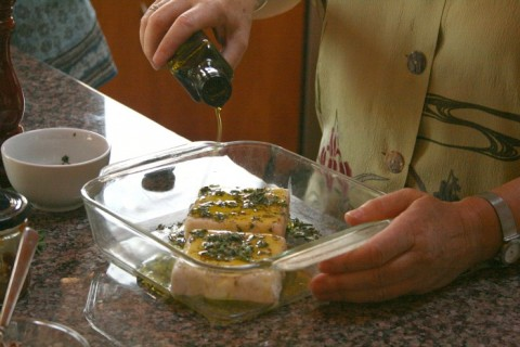 Baked Goat Feta with Olive Oil and Herbs on Shockingly Delicious
