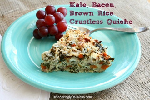 Wedge of Kale Bacon Brown Rice Crustless Quiche on a turquoise plate
