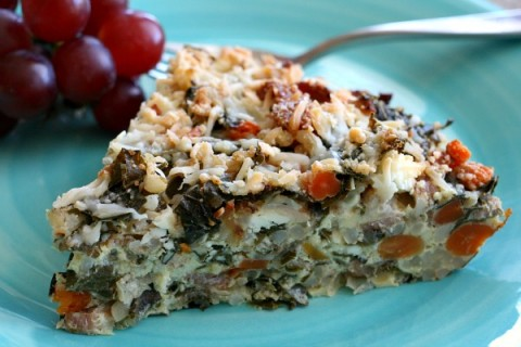 Kale, Bacon, Brown Rice Crustless Quiche