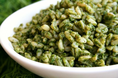 Non-Traditional Arroz Verde (Green Rice): Vibrant fresh herbs add pizzazz to cooked rice in a Mexican side dish that tastes good either hot or at room temperature. Vegan and gluten-free, too.