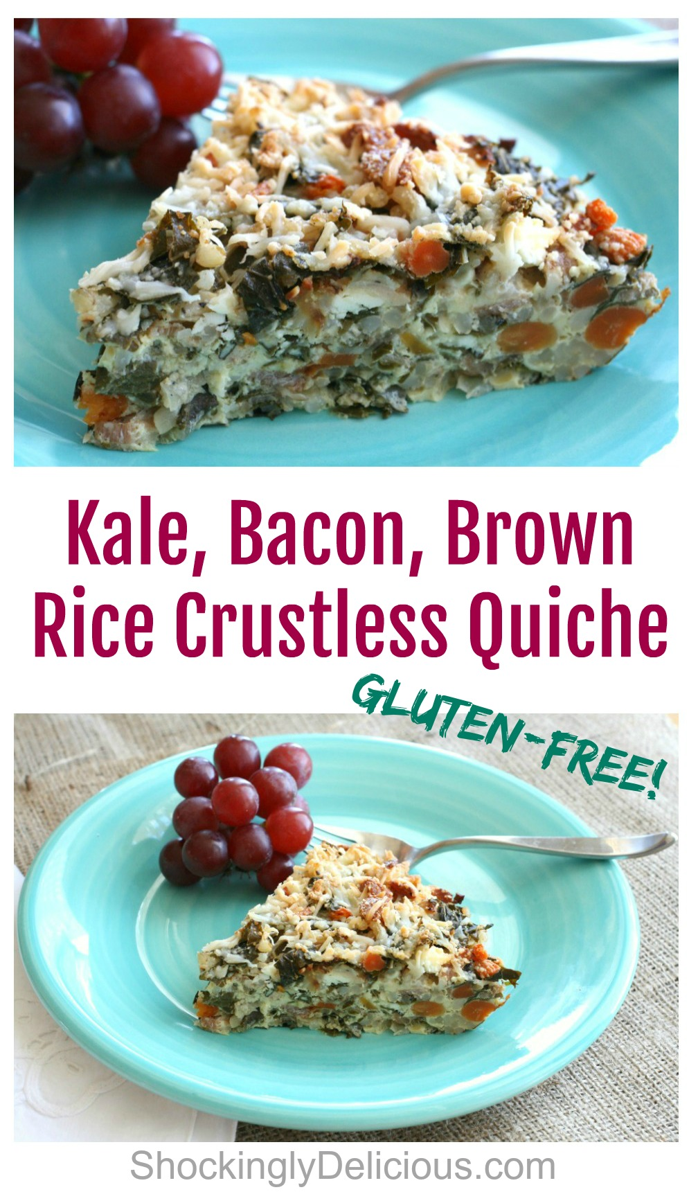 2 photos of Kale, Bacon, Brown Rice Crustless Quiche