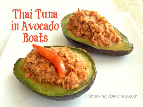 Thai Tuna Avocado Boats on Shockingly Delicious