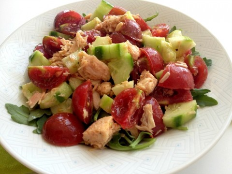 Tuna, Tomato, Cucumber Salad (Supper Salad) on Shockingly Delicious
