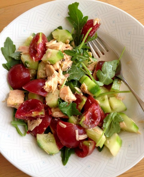 Tuna, Tomato, Cucumber Salad on Shockingly Delicious