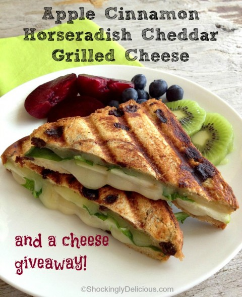 Apple Cinnamon Horseradish Cheddar Grilled Cheese on Shockingly Delicious