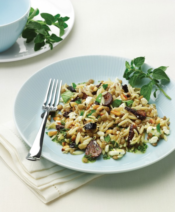 Orzo Lentil Fig Salad on a light blue plate with a fork alongside