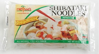 Shiratake Fettuccine noodles from Melissa's Produce