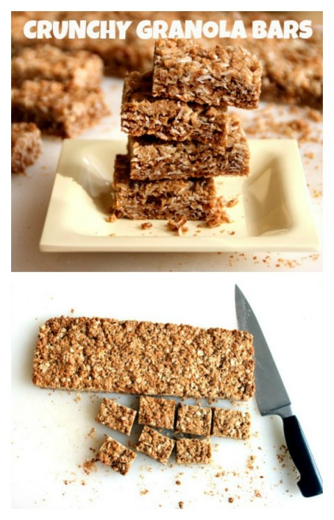 Crunchy Granola Bars stacked on a plate and cut on a cutting board on Shockingly Delicious