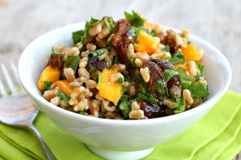 Farro Date Salad with Mango and Arugula has a lot going on with relatively few ingredients. It's chewy, sweet, peppery, salty and vegetarian, and is satisfying for either lunch or dinner.