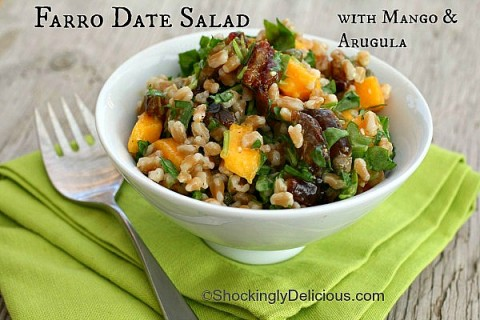 Farro Date Salad with Mango and Arugula on ShockinglyDelicious.com