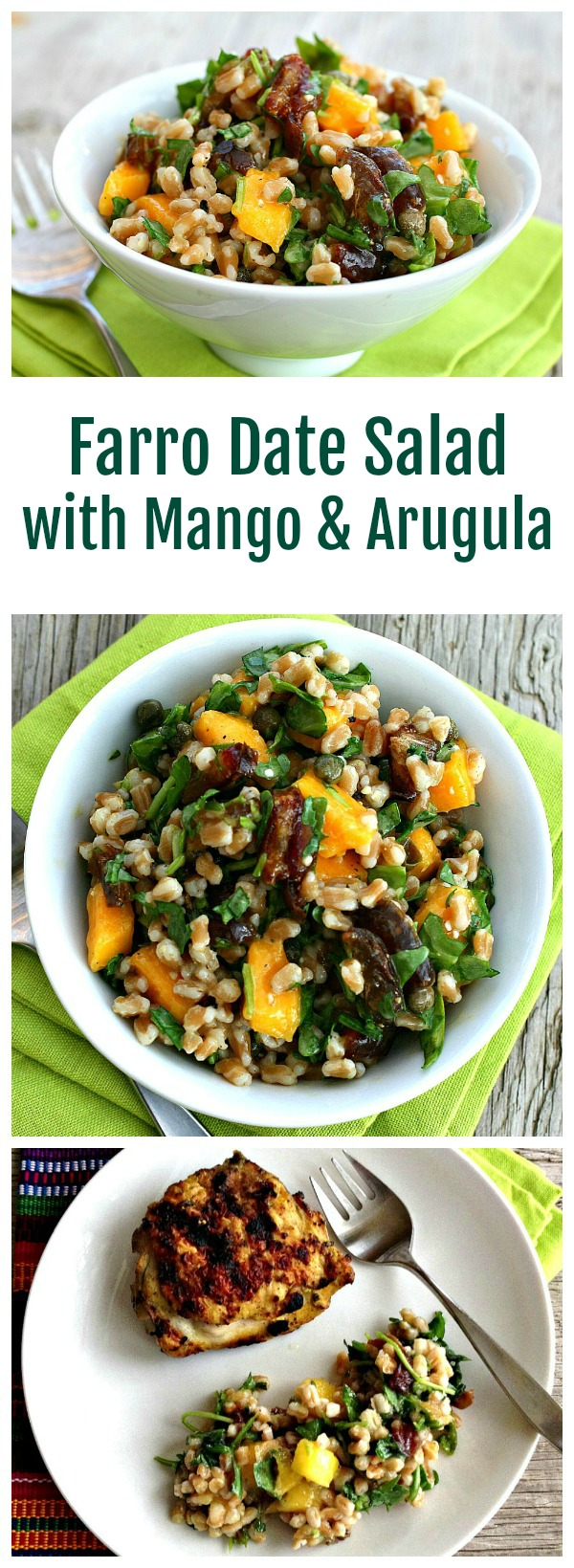 Farro Date Salad with Mango and Arugula recipe on Shockinglydelicious.com