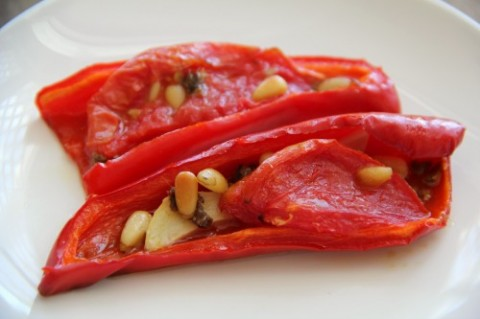Roasted Peppers with Anchovies on Shockingly Delicious