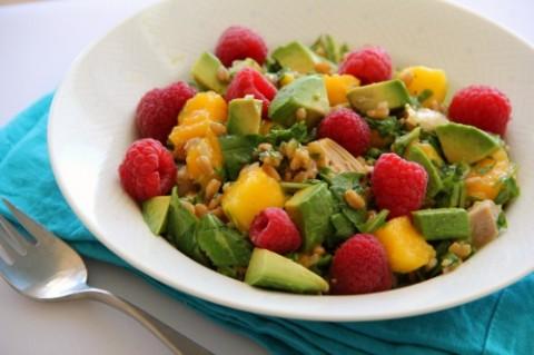Cilantro Turkey Salad with Farro and Mango on the blog Shockingly Delicious