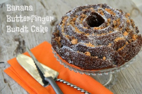 Banana Butterfinger Bundt Cake on Shockingly Delicious