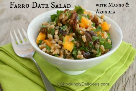 Farro Date Salad with Mango and Arugula on Shockingly Delicious