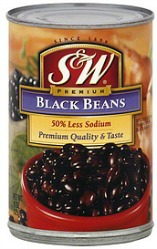 S&W 50 Less Sodium Black Beans
