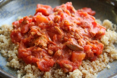 Quinoa with Angry Chicken Sauce on Shockingly Delicious