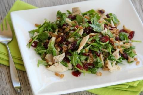 Farro Chicken Cranberry Arugula Grain Salad on Shockingly Delicious